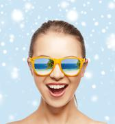 Happy screaming teenage girl in shades Stock Illustration