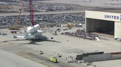 Los Angeles Space Shuttle Tarmac - stock footage