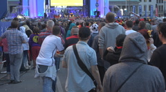 Football German fan support team Wold Cup 2014 soccer game match crowded Berlin  Stock Footage