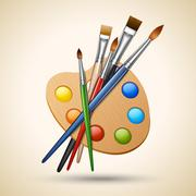 Palette with paint brushes - stock illustration