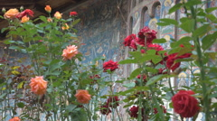 Beautiful painted old church among rose flower blue picture landmark decoration  Stock Footage