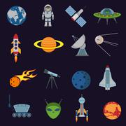 Space and astronomy icons Stock Illustration