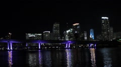 Skyscrapers Water Bridge Stock Footage