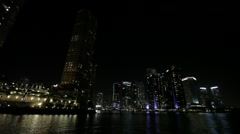 Skyscrapers Lights Shore Stock Footage