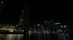 Skyscrapers Lights Shore Stock Footage