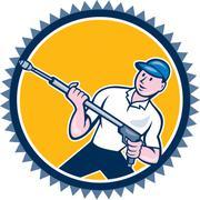pressure washer water blaster rosette cartoon - stock illustration