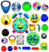 assorted icons and buttons - stock illustration