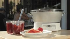 Strawberry Jam Crock Pot Stock Footage