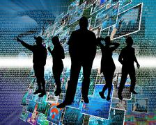 People in cyberspace Stock Illustration