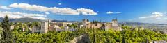 Panorama of the famous alhambra palace in granada, andalusia, spain. Stock Photos