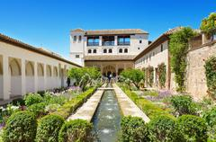 Fountain and gardens in alhambra palace, granada, andalusia, spain. Stock Photos