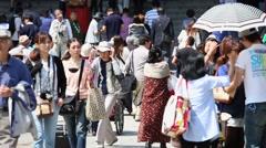 People walking at the Asakusa temple in Tokyo, Japan. Stock Footage