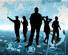 people in cyberspace - stock illustration