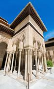 Detail of the famous alhambra palace, granada, andalusia, spain. Stock Photos