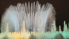 Famous Magic Fountain at the National Palace in Barcelona Stock Footage