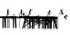 jetty kids - stock illustration