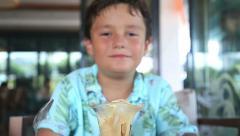 Child eating ice cream Stock Footage