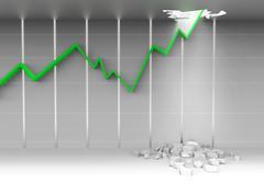 Stock chart break ceiling Stock Illustration
