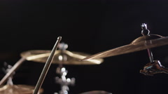 Drummer playing crash cymbal crescendo 4K - close up Stock Footage