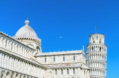 Pisa tower view from miracle square. pisa, italy. Stock Photos