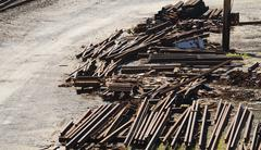 Railroad Industry Scrap Metal Piles - stock photo