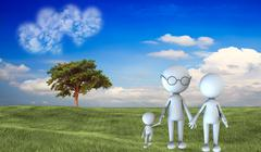 happy family scene outdoors - stock illustration