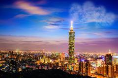 Stock Illustration of taipei, taiwan evening skyline