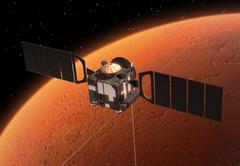 Spacecraft Mars Express Orbiting Mars Stock Photos