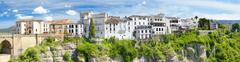 Panoramic view of ronda houses, on top of the cliff, ronda malaga, andalusia, Stock Photos