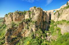 Ronda bridge and canyon, ronda, malaga, andalusia, spain. Stock Photos