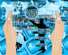 internet and humanity - stock illustration