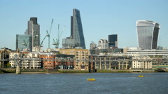 City of London skyline, cheesegrater and walkie talkie buildings. Stock Footage