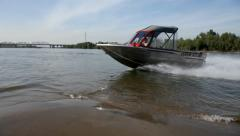 Jet motor boat cruising in the river. Stock Footage
