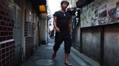 Fast Motion - People Walking In Narrow Alley In Shinjuku, Tokyo, Japan Stock Footage
