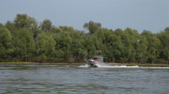 Speed motor boat in river Stock Footage
