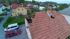 House roof falling apart aerial shot Stock Footage