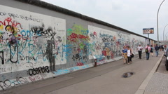 People walk along the Berlin Wall Stock Footage