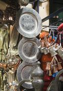 metal dishware shop, grand bazaar, istanbul - stock photo