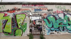 Panoramic (pan) on The Berlin Wall - stock footage