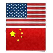 United states flag and china flag Stock Illustration
