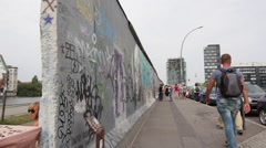 Obelique view of the Berlin Wall - stock footage