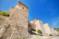 Exterior view of alcazaba walls. ancient fortress in malaga, andalusia, spain. Stock Photos