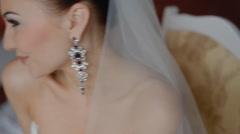 Happy bride pose to photographer indoor Stock Footage