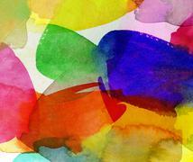 Bright watercolor brushstrokes on paper Stock Illustration