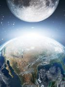 Stock Illustration of Earth and moon