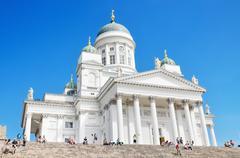 Helsinki, finland - june 22: tourist visiting helsinki cathedral. Stock Photos