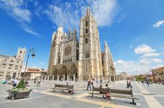 leon, spain - august 22: tourist visiting famous landmark leon cathedral. - stock photo