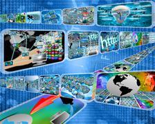 Large data stream Stock Illustration