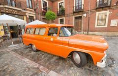 Leon, spain - august, 22: orange 1960 chevy apache truck. Stock Photos