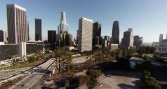 Wide view of scenery around Downtown Los Angeles, California - stock footage